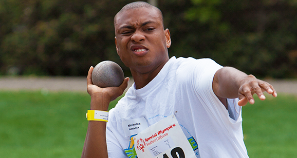 Special Olympics athlete from Valencia throws a shot put.